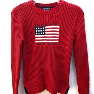 Polo Jeans Co. Ralph Lauren Ribbed Flag Sweater